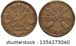 Sweden Swedish copper coin 2 two ore 1762, crowned shield with lion surrounded by crowns, two arrows divide denomination below crown, date below,