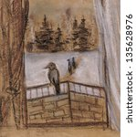 Raven Sits On A Balcony...