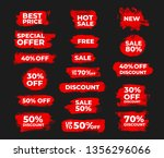 set of 18 red promocios badge ... | Shutterstock .eps vector #1356296066