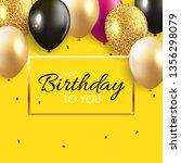 glossy happy birthday balloons... | Shutterstock .eps vector #1356298079