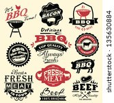 collection of vintage retro bbq ... | Shutterstock .eps vector #135630884