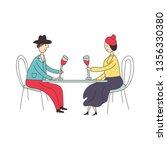 an elderly woman sits at a...   Shutterstock .eps vector #1356330380