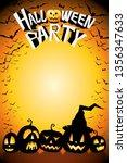 halloween party poster template ... | Shutterstock . vector #1356347633