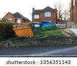 industrial rubbish skip full of ... | Shutterstock . vector #1356351143