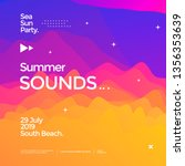 summer sounds electronic music... | Shutterstock .eps vector #1356353639