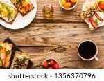 breakfast table with tasty... | Shutterstock . vector #1356370796