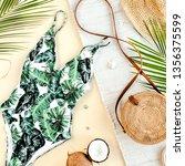 woman's beach accessories ... | Shutterstock . vector #1356375599