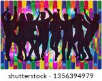 dancing people silhouettes....   Shutterstock .eps vector #1356394979