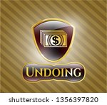golden emblem with money icon... | Shutterstock .eps vector #1356397820