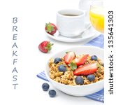 breakfast with homemade granola ... | Shutterstock . vector #135641303