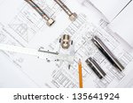 plumbing and drawings are on... | Shutterstock . vector #135641924