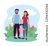 woman and man couple with their ... | Shutterstock .eps vector #1356432266
