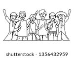 young people friends cartoon   Shutterstock .eps vector #1356432959