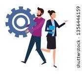 coworkers teamwork cartoon   Shutterstock .eps vector #1356446159