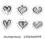 heart icons set  hand drawn... | Shutterstock .eps vector #1356466949
