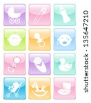 glossy baby button icons set | Shutterstock .eps vector #135647210
