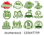 vector green emblems of ecology ... | Shutterstock .eps vector #135647759