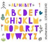 cute scandinavian alphabet ... | Shutterstock .eps vector #1356486140