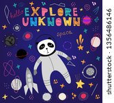 cute panda in space vector...   Shutterstock .eps vector #1356486146