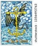 fantasy black dragon sitting on ... | Shutterstock . vector #1356493763