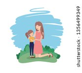 woman with daughter avatar... | Shutterstock .eps vector #1356499349