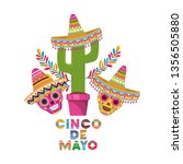 cinco de mayo label with cactus ... | Shutterstock .eps vector #1356505880