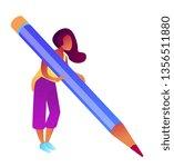 businesswoman holding big... | Shutterstock .eps vector #1356511880