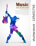 illustration of rock star with... | Shutterstock .eps vector #135651743
