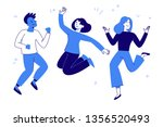 Stock vector vector illustration in flat simple style happy jumping team smiling men and women victory 1356520493