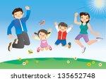 jumping family | Shutterstock .eps vector #135652748