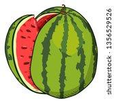 vector cartoon watermelon with...   Shutterstock .eps vector #1356529526