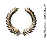 golden laurel wreath symbol... | Shutterstock . vector #135655769