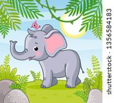 baby elephant stands in a... | Shutterstock .eps vector #1356584183