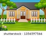 cartoon house with green yard...   Shutterstock . vector #1356597566