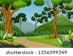 beautiful forest landscape with ...   Shutterstock . vector #1356599249