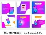six set modern wave fluid... | Shutterstock .eps vector #1356611660