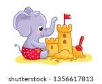 Stock vector little elephant plays on the beach in the sand a cute animal builds a sand castle vector 1356617813