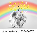origami birds abstract concept... | Shutterstock . vector #1356634370