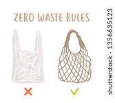 zero waste rules. disposable... | Shutterstock .eps vector #1356635123