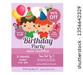 cute cartoon birthday party...   Shutterstock .eps vector #1356642329