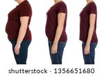 overweight woman before and... | Shutterstock . vector #1356651680