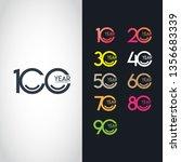 100 year anniversary set 10 20... | Shutterstock .eps vector #1356683339