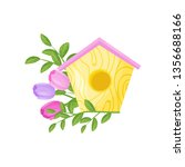birdhouse with flowers on white ... | Shutterstock .eps vector #1356688166