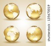 set of golden globes on beige... | Shutterstock .eps vector #135670019