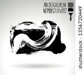 black brush stroke and... | Shutterstock .eps vector #1356720449