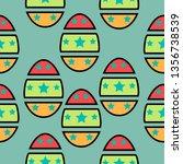 seamless pattern easter eggs.... | Shutterstock .eps vector #1356738539