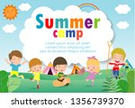 kids summer camp education... | Shutterstock .eps vector #1356739370