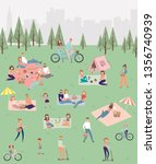 summer picnic with active... | Shutterstock .eps vector #1356740939
