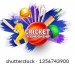 cricket championship banner or... | Shutterstock .eps vector #1356743900