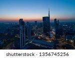 milan city skyline at dawn ... | Shutterstock . vector #1356745256